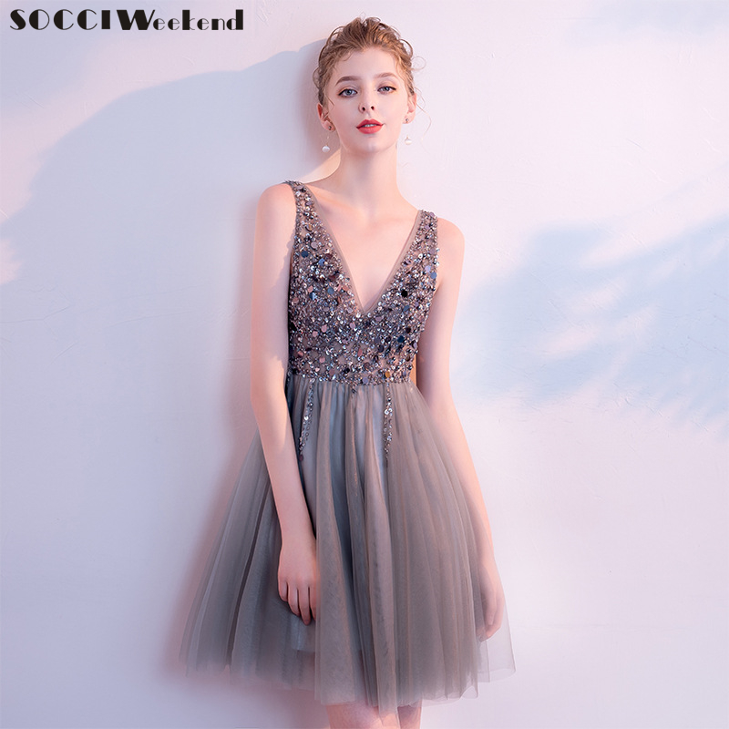 Short   Cocktail     Dresses   Crystal Sexy Beaded V Neck Elegant Party   Dress   A-Line Mini Evening Elegant 2019 Special Occasion Gown New
