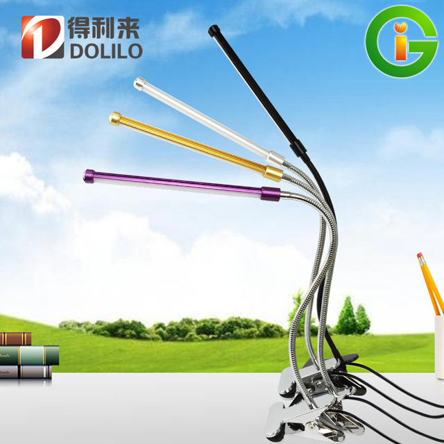 Protección de los ojos Llevó la lámpara de lectura lámpara de escritorio Flexible Portable, interruptor de Brillo regulable lámpara de iluminación USB, 1 unids/lote