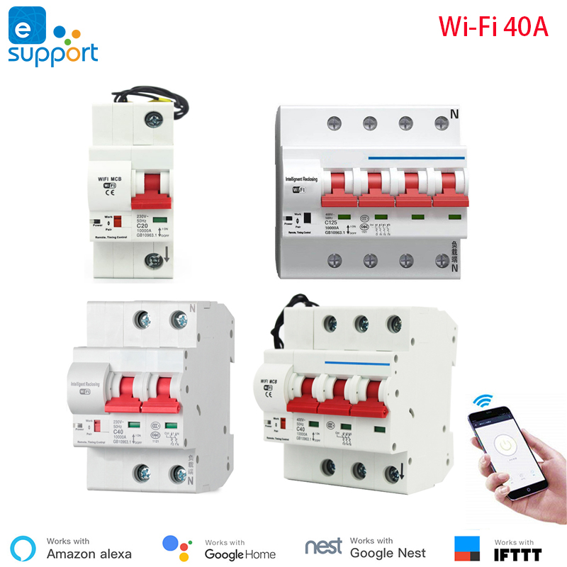 40A eWeLink WiFi Smart Circuit Breaker Automatic Switch overload short circuit protection work with Amazon Alexa