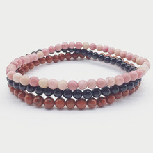 Healing Energy Women bracelets Set Natural stone beads 4 mm Rhodonite red Jaspers Black Agates bead Nature Color