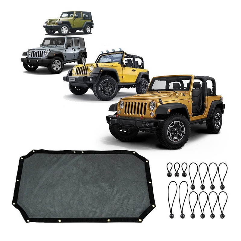 For Jeep Wrangler Accessories Durable Mesh Sun Shade Full Bikini Top Cover  UV Protection With Storage Pockets For JKU 2/4 Door  In Car Covers From ...