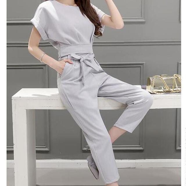 Las mujeres de dos piezas trajes de moda lápiz de los pantalones + de manga corta t-shirt de verano nueva corea editionslim Femenina ropa fijada
