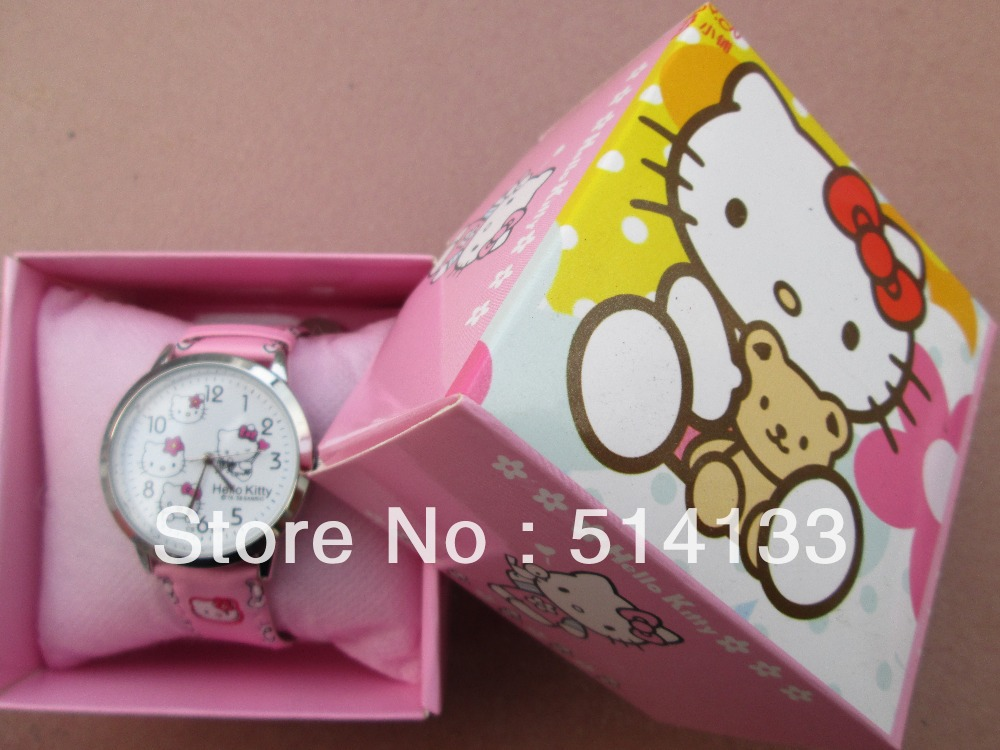 Hello Kitty watches girl KT cat Christmas gifts children watch free shipping in box 1pcs/lot