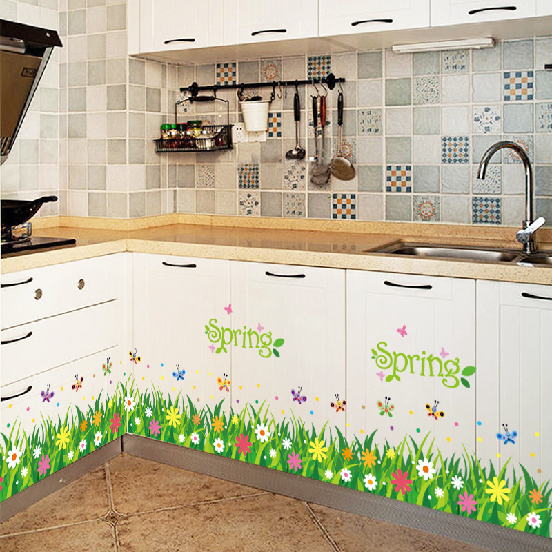 Flower Grass Butterfly Pvc Wall Stickers Skirting Kids Living Room Bedroom Bathroom Kitchen Nursery Balcony Home Decor Mural