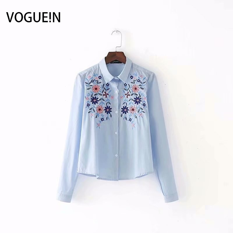 VOGUEIN New Womens Light Blue Floral Embroidery Striped Long Sleeve   Blouse     Shirt   Wholesale