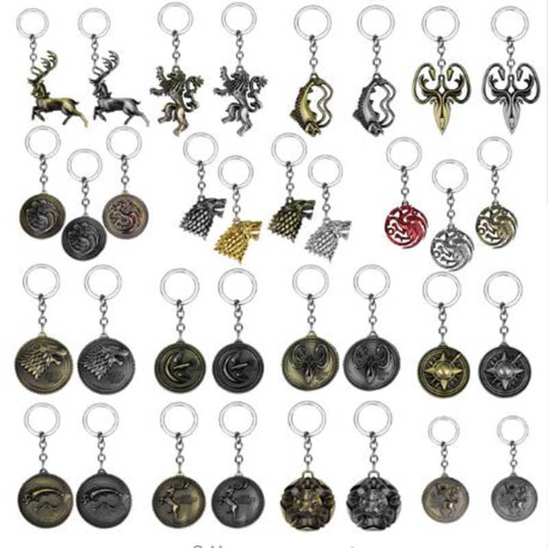 42 Styles Game of Thrones Keychains House Stark Wolf Key chains A Song Of Ice And Fire Targaryen Dragon Keyring Souvenirs Gift