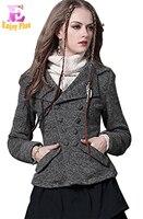 S M L De Haute Qualité poitrine 88-96 cm vintage laine new hiver 2017 gris court mince veste manteau femmes élégant épais mince de mode dame