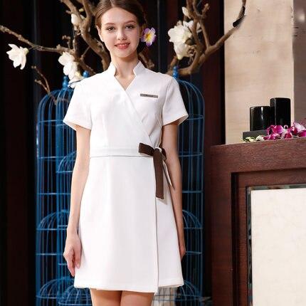 Slim Fit beauté Salon d'été vêtements de travail robe infirmière uniformes ongles esthéticienne travail salopette vêtements à manches courtes robes médicales