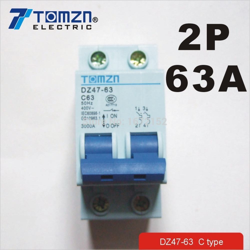 2P 63A 400V~ 50HZ/60HZ Circuit breaker AC MCB safety breaker C type2P 63A 400V~ 50HZ/60HZ Circuit breaker AC MCB safety breaker C type