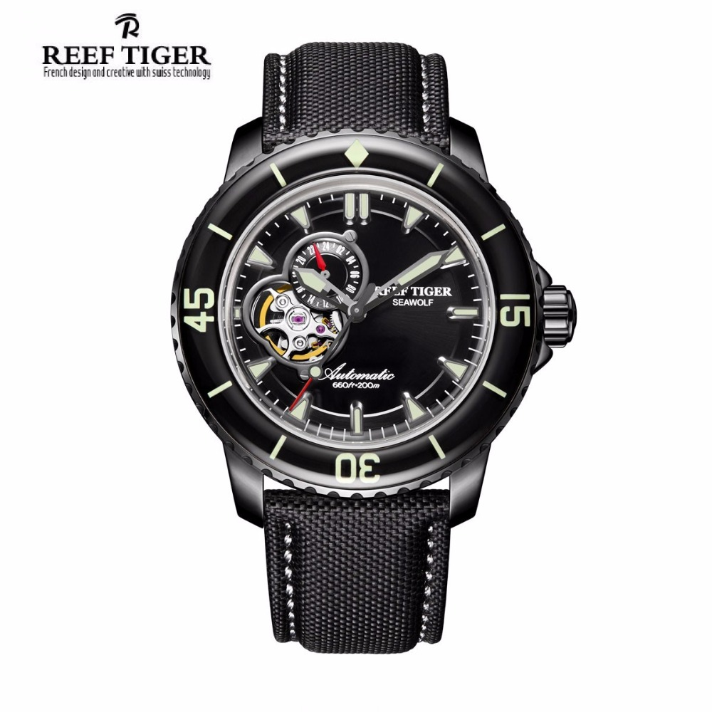 Reef Tiger/RT Men's Dive Watch with Date Super Luminous Skeleton Automatic Watches with Nylon Band RGA3039 reef tiger rt top brand automatic watches enjoy your live style dive watch luminous nylon leather rubber watches rga90s7