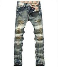 Hot sale  Men Cutout Jeans Fashion Slim Pencil Trousers