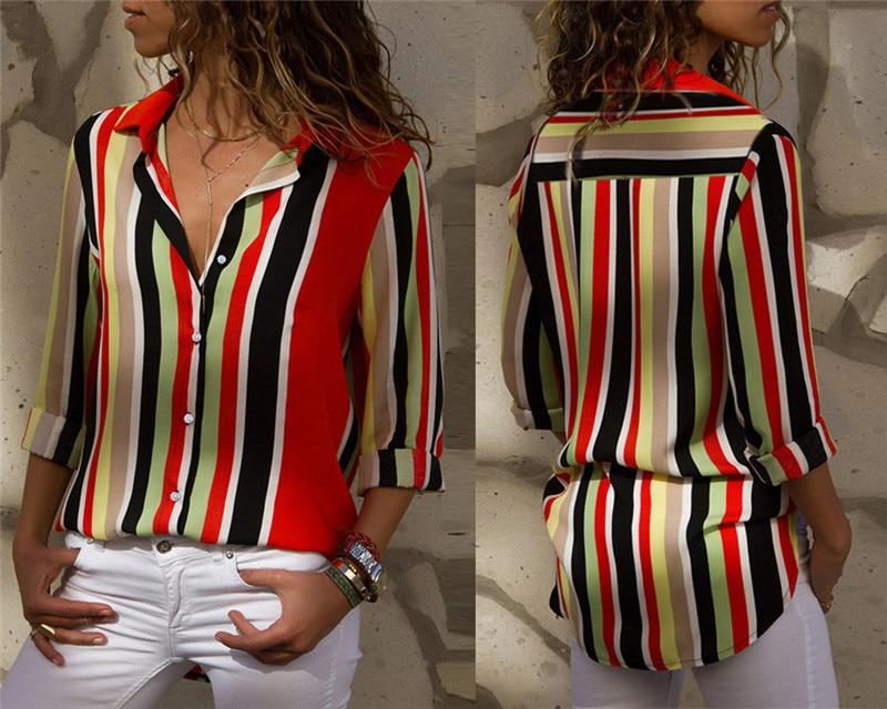 Women Blouses Fashion Long Sleeve Turn Down Collar Office Shirt Leisure Blouse Shirt Casual Tops 95