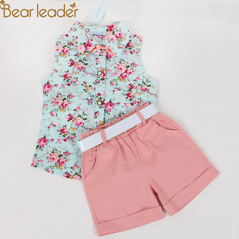 Bear Leader Kids Clothes 2018 Fashion Sleeveless Summer Style Baby Girls Shirt +Shorts + Belt 3pcs Suit Children Clothing Sets bear leader girls clothing sets 2018 new summer o neck sleeveless t shirt pants 2 pcs kids clothing sets children clothing