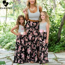 Chivry Mother and Daughter Dresses Sleeveless Stripe Floral Long Maxi Dress Clothes Family Matching