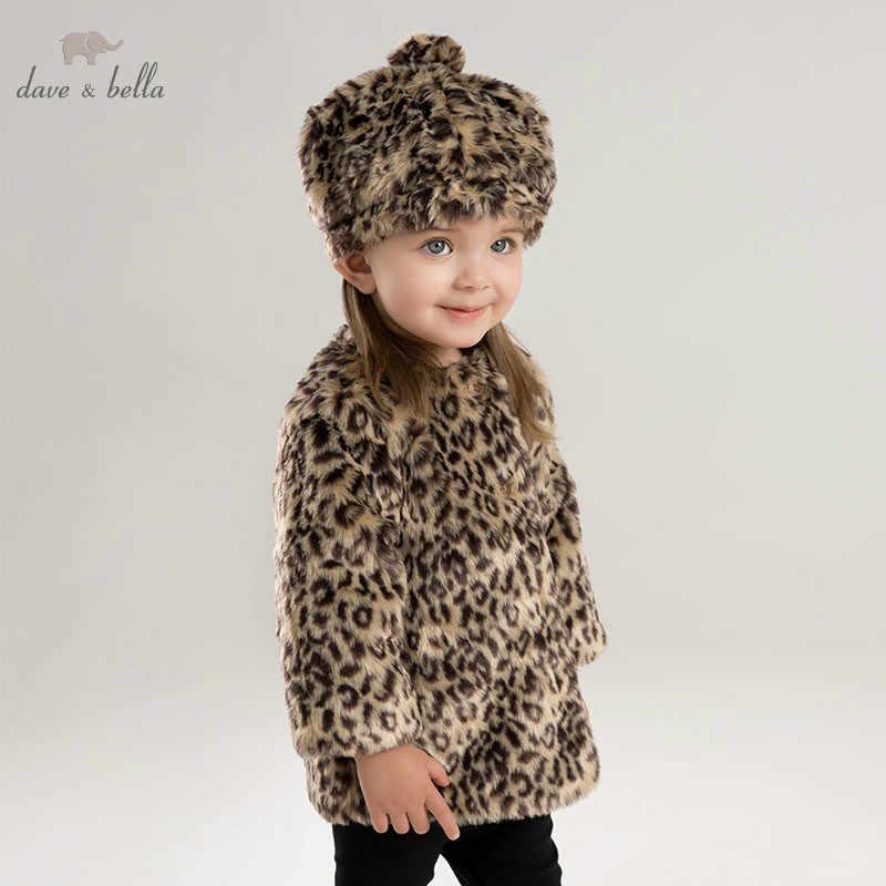 DB8528 ديف بيلا الخريف الشتاء الطفل الفتيات ليوبارد طباعة سترة الأطفال مع قبعة معطف الرضع طفل ملابس الموضة