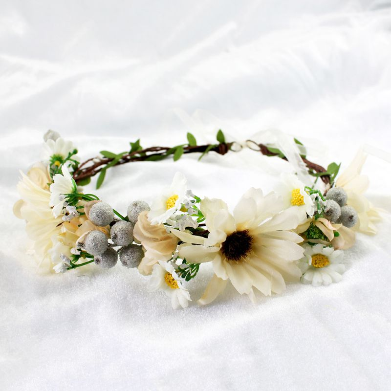 Wreath Girl Head Flower Crown Bridal Hair Accessories Artificial Flower Head Wreath For Hair Wedding Garland Headpiece 2017 2017 newly fashion tiara hairwear headpiece plastic flower hairdress wedding hair accessories head chain bridal hairwear ma064