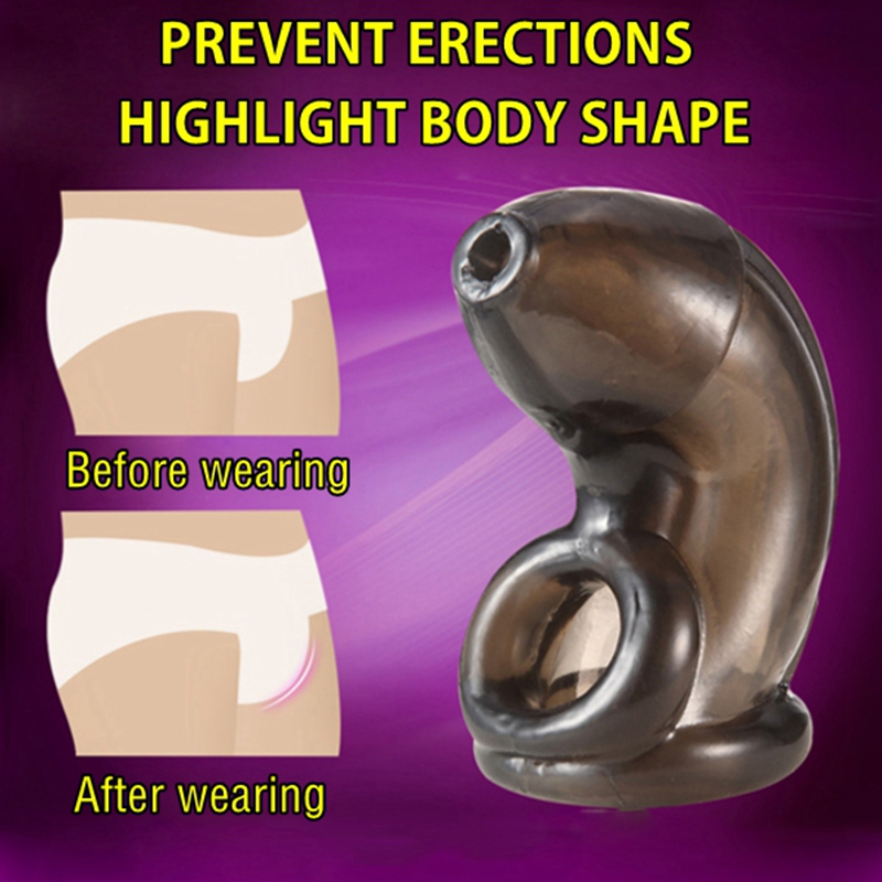 Prevent Erection Reusable Chastity Cage TPE Penis Sleeve Male Chastity Device Cock Ring Sex Toys For Men