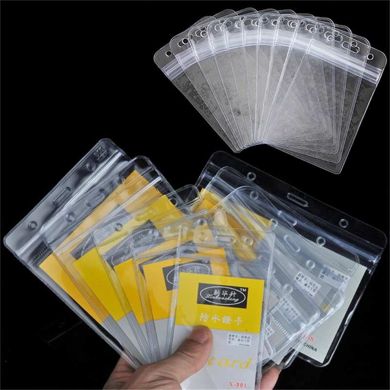 Honey Peerless 10pcs/lot Plastic Transparent Id Card Name Cards Badge Holder With Zipper Vertical Clear Exhibition Office Supplies Badge Holder & Accessories