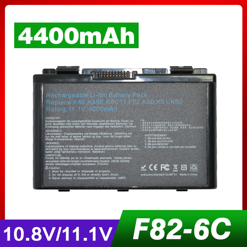 4400mAh Laptop Battery For Asus A32-F82 A32-F52 A32 F82 F52 K40 K42 K42J K40IN K50 K50IJ K50AB K50ID k50IJ k50IN K51 K60 K61 K70
