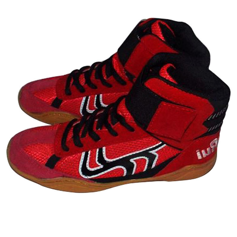 Bull Leather Men Wrestling Shoes High Boxing Shoes Rubber -1988