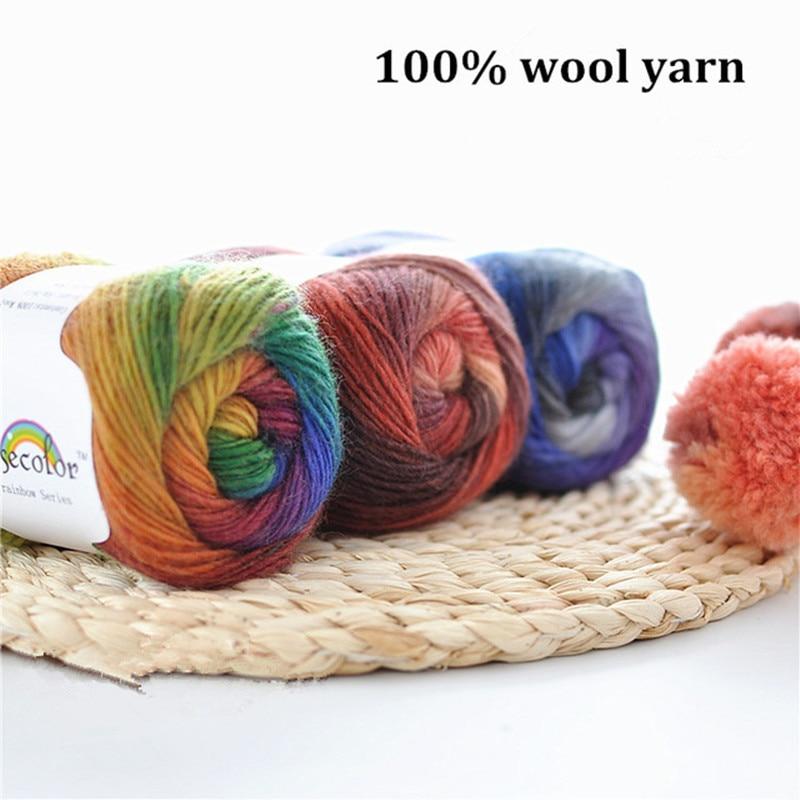 ₩500g (10 bolas) /Lot Rainbow lana mano tejer lana merino sección ...