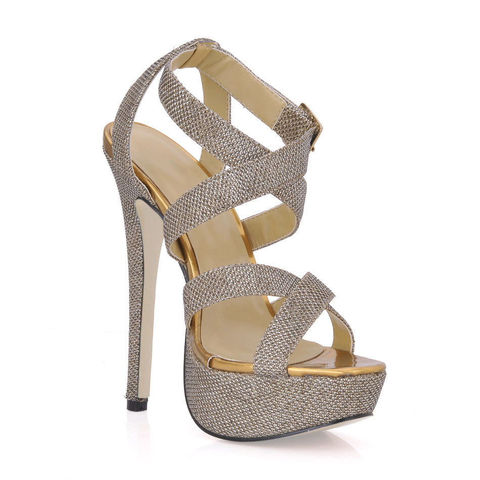 Women Gladiator Sequined Cloth Buckle Strap Narrow Band Super High Heels Evening Wedding Party Dress Sexy Sandals Ladies Pumps in High Heels from Shoes