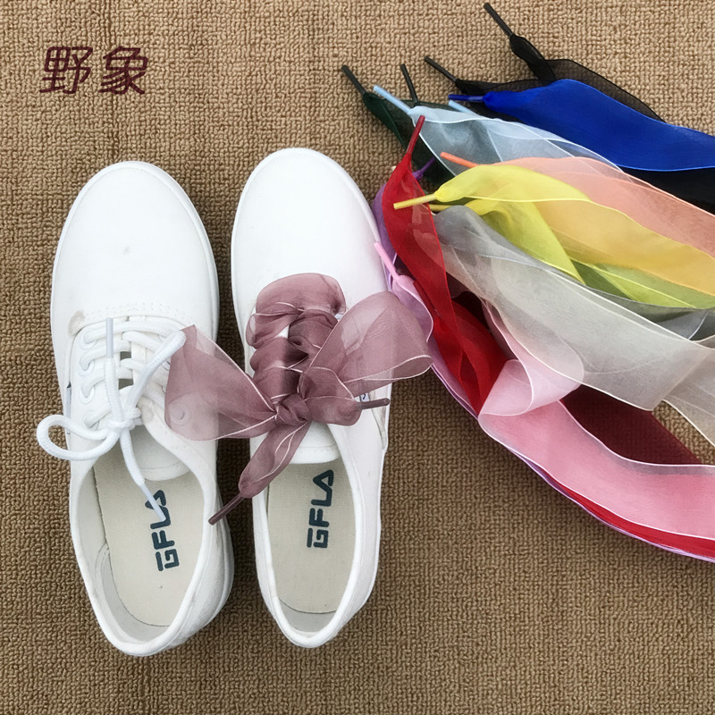 wholesale 100 pairs 4cm Wide silk shoelaces flat wide shoe laces sneakers women shoe lace light casual shoelace FAST SHIPMENT цены онлайн
