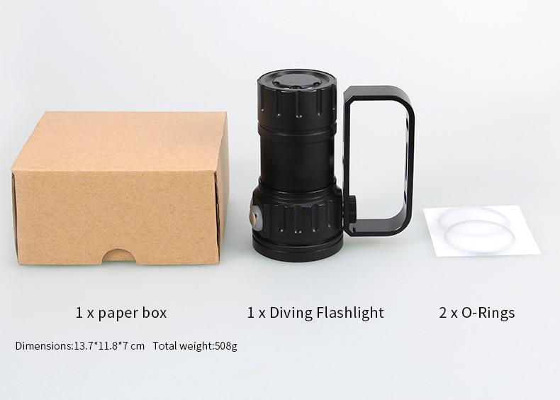Tinhofire QH18/QH27 Underwater IPX8 80M White XML2+XPE Red/Blue R5 Photography Video LED Diving Flashlight Photo Fill Light