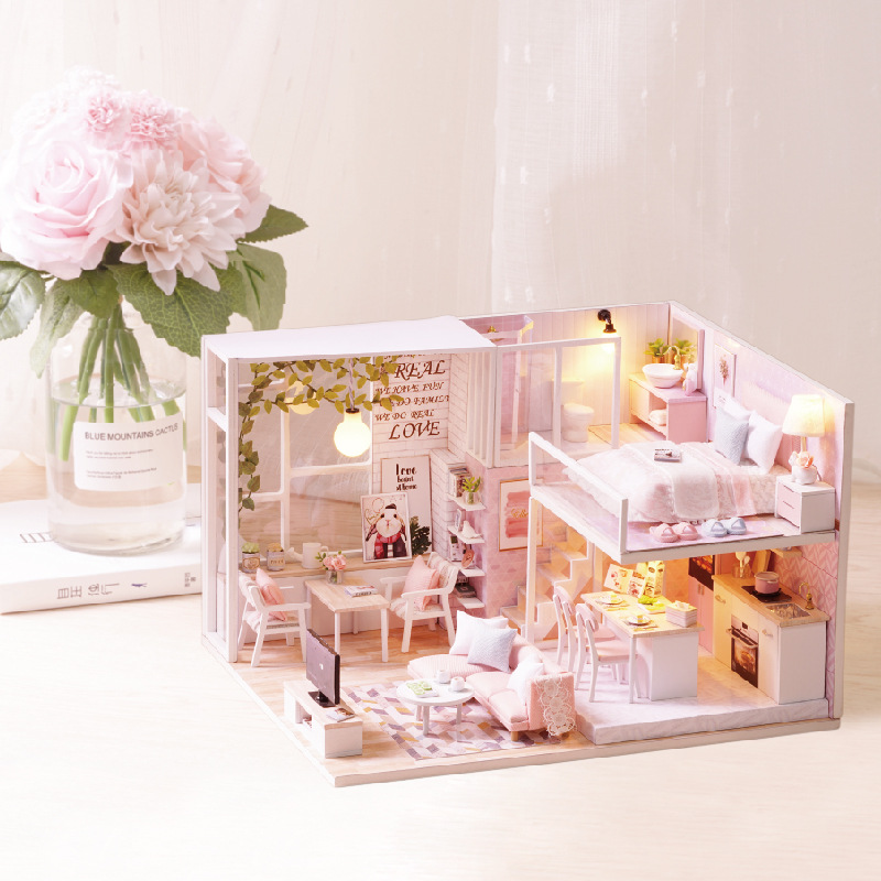 DIY Led Dollhouse Girls Pink Home Apartment Model Handmade Toy Kids Holiday Gift Doll House Toys