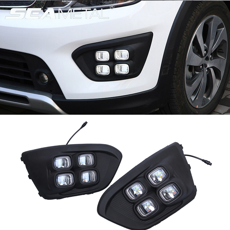 Car 12V DRL Day Lights Lamp For Russia KIA RIO X Line 2018 Highlight Auto Driving Daytime Running Lights on Car DRL Super Bright