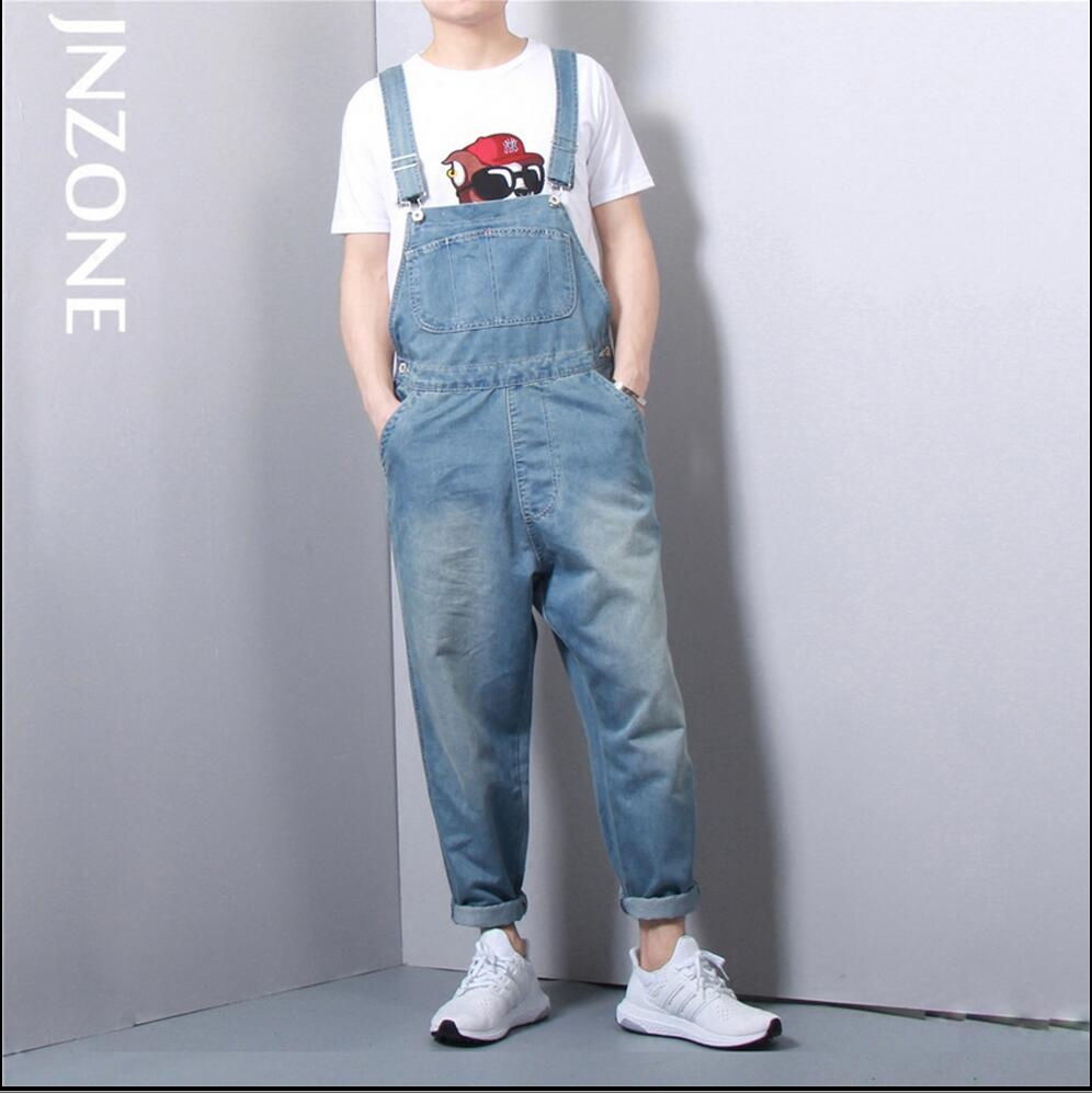 S-5XL Plus Size Fashion New Men's jeans student overalls Siamese suspenders harem pants denim bib pants Rompers singer costumes plus size pants the spring new jeans pants suspenders ladies denim trousers elastic braces bib overalls for women dungarees