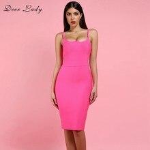 b5e4877df52 Deer Lady Sexy Bandage Dress 2019 New Arrivals Hot Pink Bandage Dress  Bodycon Autumn Women Spaghetti Strap Bandage Dress Party