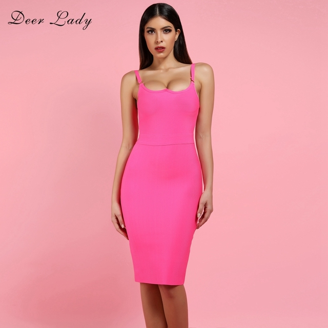 7b6c75282e US $29.32 30% OFF|Aliexpress.com : Buy Deer Lady Sexy Bandage Dress 2019  New Arrivals Hot Pink Bandage Dress Bodycon Autumn Women Spaghetti Strap ...