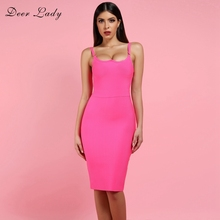 Deer Lady Summer Sexy Bandage Dresses 2019 New Arrivals Hot Pink Bandage Bodycon Dress Women Spaghetti Strap Bandage Party Dress