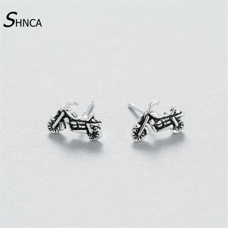 925 Sterling Silver Locomotive Motorcycle Stud Earrings For Men Women Vintage Prevent Allergy Sterling-silver-jewelry E115