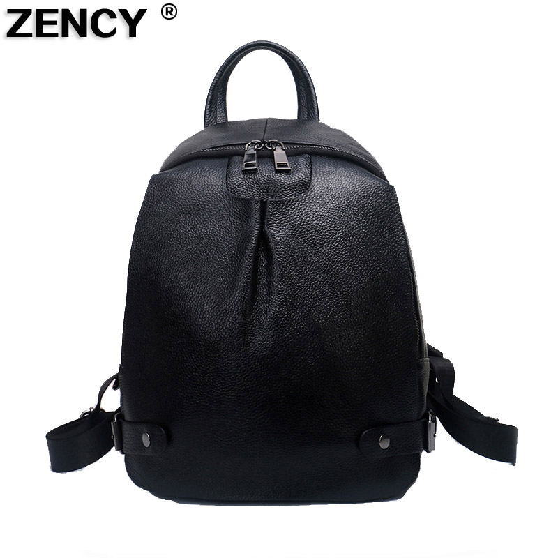 ZENCY 2018 Real Genuine Leather New Arrival Fashion Designer Luxury Famous Brands Women Backpack Soft Cowhide School iPad Bag недорго, оригинальная цена