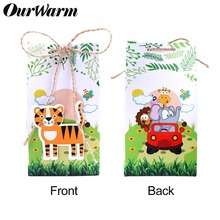 OurWarm 6pcs Safari Animals Favor Boxes Jungle Party DIY Decoration Junble Themed 1st Birthday Supplies Woodland Baby Shower