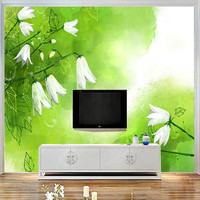 Custom Mural 3D White Lily of the Valley Wallpaper for Walls 3D Art Green Fresh Wall Covering Living Room Home Decor TV Wall