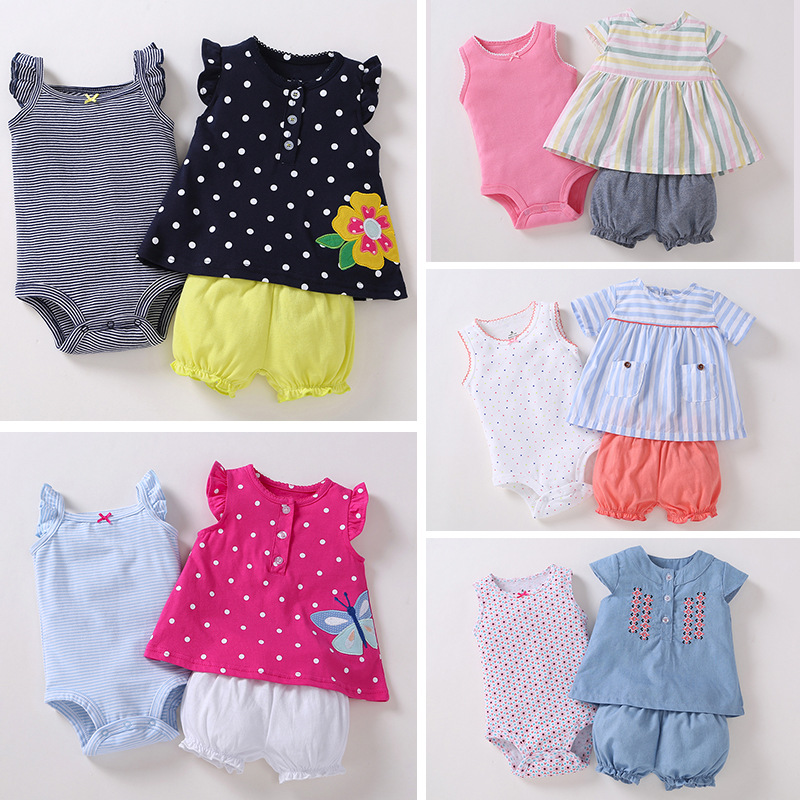 2018 Infant Baby Outfits Set / 3 Pcs Set /bodysuit + T-shirt + Bloomers Set / Fun In The Sun / Polka Dot / Butterfly / Stripe