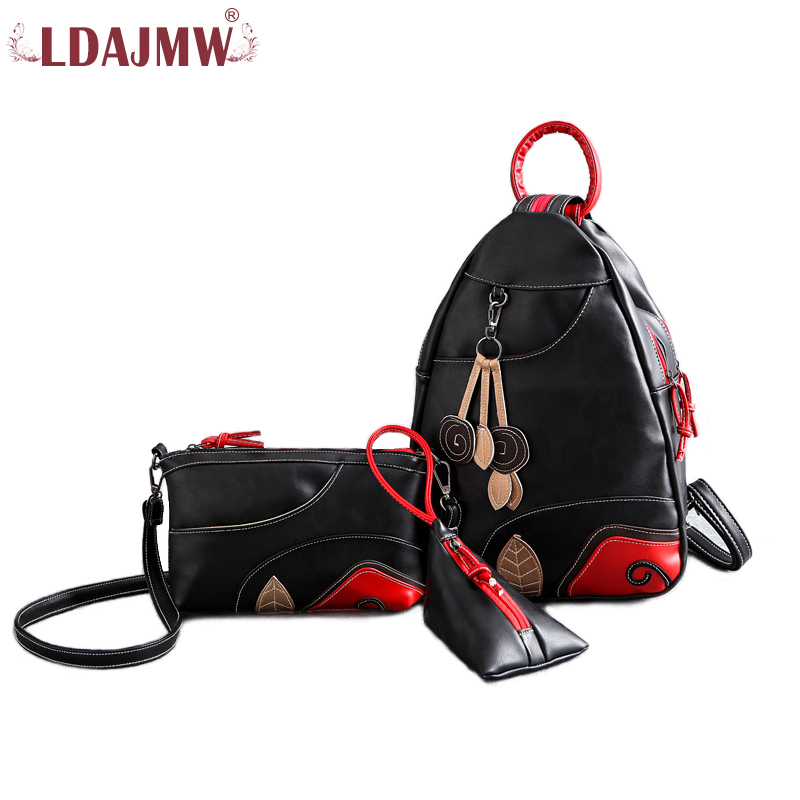 3pcs/set High Quality Pu Leather Ladies Chest Bag Shoulder Bags Package Travel Backpack Crossbosy Bag For Girls Travel Organizer