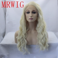 MRWIG 20in real hair synthetic #613 blonde synthetoc glueless front lace wig 10 26in stock right side part swiss lace