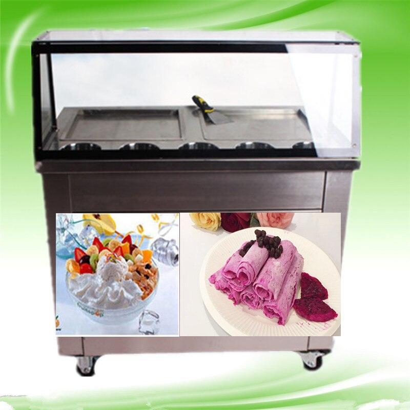 Двойной плоской сковороде и 5 ведра машина для жареного мороженого, жареные льда Пан машина, нержавеющая сталь льда Пан Мороженое машины