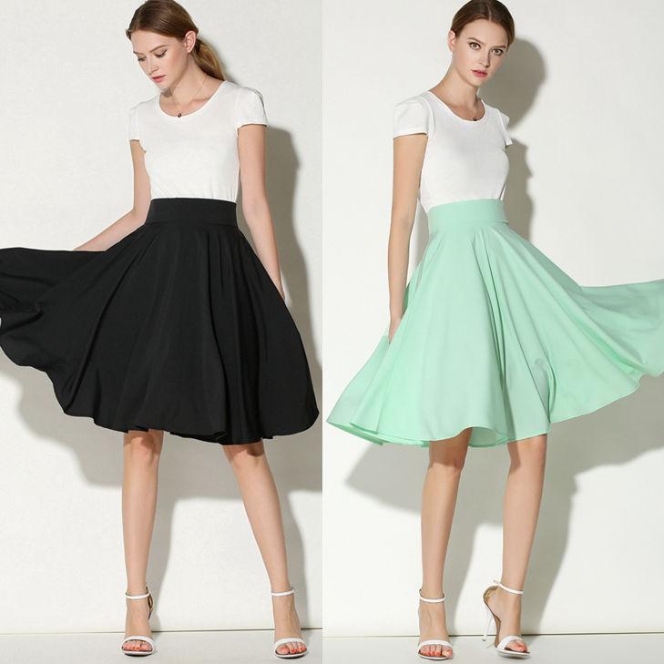 Aliexpress.com : Buy Women Vintage Plain High Waist Pleated Knee ...