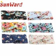 Garment  6 Colors 21*10cm Women Flower Printed Spring elastic Twist Hair Band Cloth turban Headband
