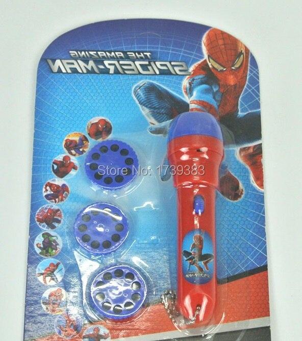 Bébé histoire de couchage Spiderman projecteur lampe de poche 30 pcs couleurs diapositives spider-man enfant de projection lumière-up jouet Sommeil lumière