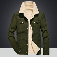 Jacket mens winter warm plus velvet thick cotton jacket casual fur collar military tactical Parker