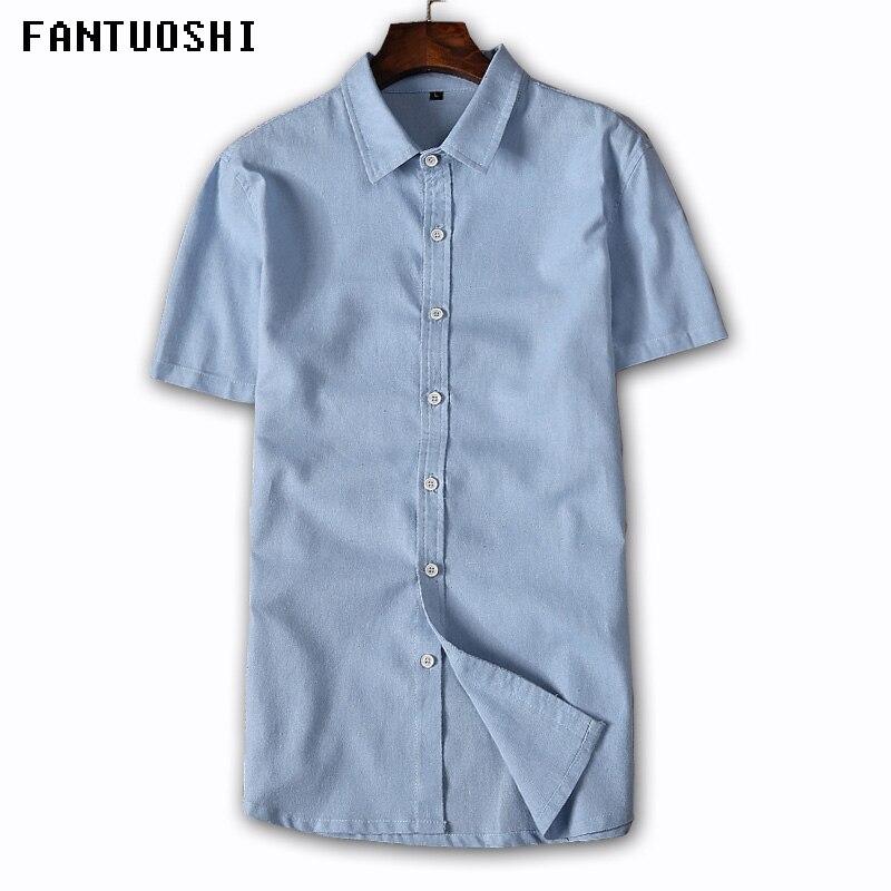 2018 New Solid Fashion Short sleeve Mens shirts male casual Linen shirt men Brand Shirt Men Blue white gray Plus Size 5XL ...