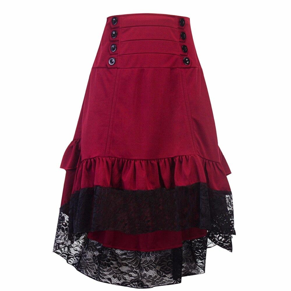 Women's Burgundy Victorian Gothic Steampunk Skirt Sexy Party Irregular Wine Red Ruffles Vintage High Waist Lace Skirt Patchwork