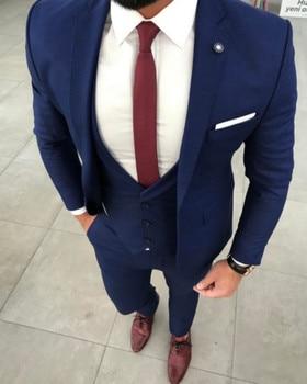 New Arrival One Button Blue Groom Tuxedos Notch Lapel Groomsmen Men Blazers 3 pieces Suits (Jacket+Pants+Vest+Tie) NO:315