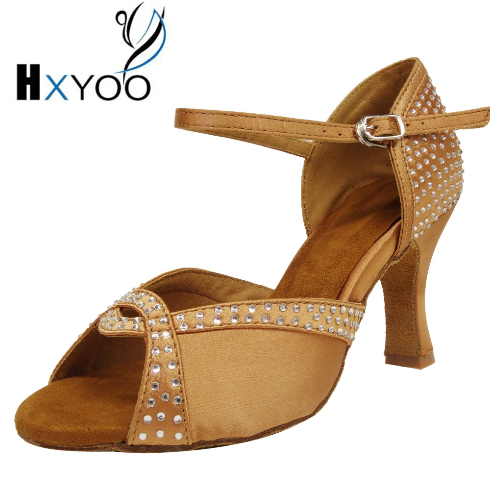 HXYOO chaussures de danse latine strass Salsa Tango chaussures de danse pour femmes marque talon large 8 cm marron talons personnalisés et couleurs ZC24